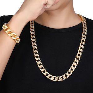 💕14k gold Cuban link hip hop bracelet jewelry